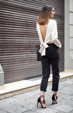 Oh-so chic in this low knotted top.