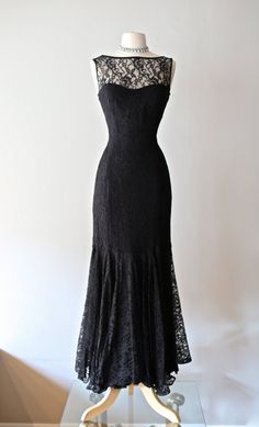 Vintage 1950's Black Lace Illusion Gown  Vintage by xtabayvintage