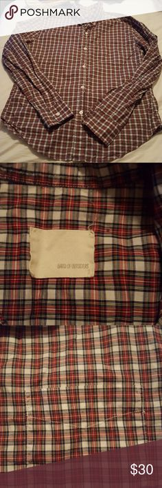 Band of Outsiders Plaid Button Down Shirt 100%cotton made in USA. Measurements are taken buttoned up pit to pit 20 length 27 1/2. Worn 1 time. Band Of Outsiders Shirts Casual Button Down Shirts