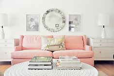 pink sofa, white furniture pastell, rosa, rose, couch, living room, girly