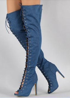 Find More Women's Boots Information about New designer lace up thigh high stiletto heel denim boots high quality fish mouth gladiator sandal autumn winter boot big size43,High Quality boot red,China boots pumps Suppliers, Cheap boot support from Pretty Lady Luxury Shoes  on Aliexpress.com