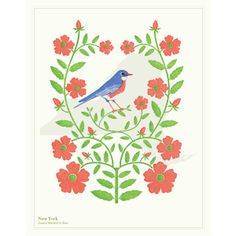 Eastern bluebird, and rose. New York From Uncommon Goods.