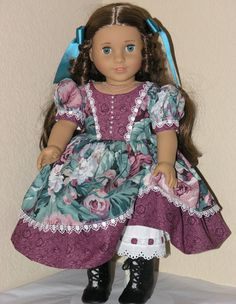 18 inch American Girl Doll Clothes -  Marie Grace - Dress, Pantalettes, Hair Ribbon - Blue Green Floral. $27,99, via Etsy.