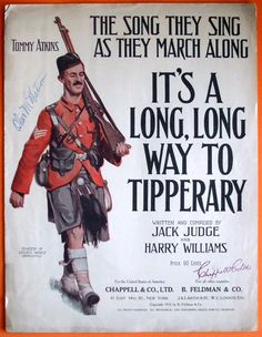 It's A Long, Long Way To Tipperary, Original 1912 World War One Sheet Music. $ 26.50, via Etsy.