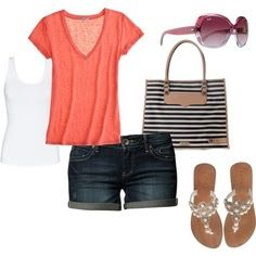 Casual Summer Days, created by vpederson on I Love Fashion, Passion For Fashion, Womens Fashion, Feminine Fashion, Fashion Wear, Style Fashion, Style Work, Mode Style, Summer Day Outfits