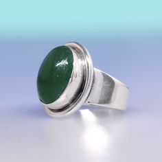 Vintage Carl Ove Fydensburg silver and chrysoprase ring  Denmark, 1960's. Fab piece, really wearable from Koru Jewellery.