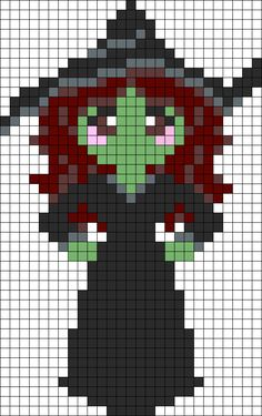 Elphaba From Wicked Perler Bead Pattern / Bead Sprite