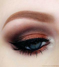 Burnt Smokey Orange and Brown Eyeshadow Cat Eyeliner #Fall Makeup