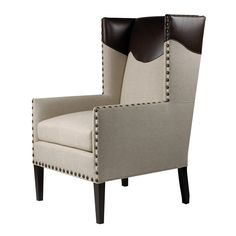Legacy Leather and Linen Jasper Wing Chair