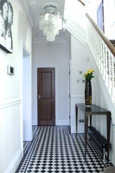 entrée - sol - damier noir et blanc - pose diagonale