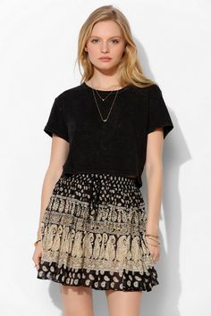Band Of Gypsies Foil-Crinkle Full Mini Skirt