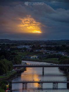 Sunburst over the bridges Drogheda
