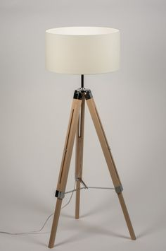 Vloerlamp 10304: Modern, Retro, Chroom, Hout