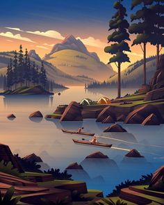 Teardowns: Figures Included Scenic illustrations can oftentimes benefit from the subtle use of figures. These figures may be placed as a focal, middle, or background…Scenic illustrations can oftentimes benefit from the subtle use of figures. These figures Environment Concept Art, Environment Design, Camping Wallpaper, Wie Zeichnet Man Manga, Illustration Art Nouveau, Nature Wallpaper, Iphone Wallpaper Art, Oeuvre D'art, Landscape Art