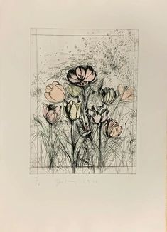 Jim Dine, Drypoint Etching, Printmaking, Tulips, Vintage World Maps, Artsy, Watercolor, Fine Art, Dining