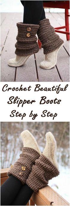 Crochet Beautiful Slipper Boots