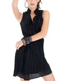 Take a look at this Black Ruffle Shirt Dress by Cino on #zulily today!