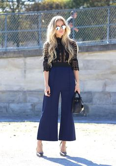 On trend at Paris Fashion Week: cropped flare trousers with a sheer lace blouse. @Nordstrom