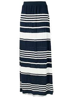 Navy Striped Maxi Skirt