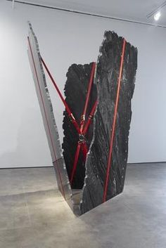 Jose Davila  Look Mickey, 2014 cosmic black granite marble and ratchet straps overall: 109 7/8 x 110 1/4 x 110 1/4 inches (279 x 280 x 280 cm) unique the work is accompanied by a signed certificate of authenticity