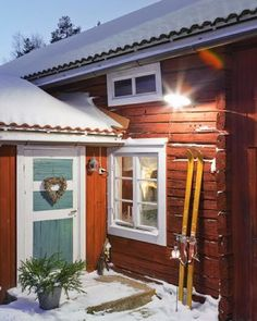 red wooden house in snow up close from Nordingarden Swedish Style, Swedish House, Beautiful Homes, Beautiful Places, Red Houses, Red Cottage, Swedish Christmas, Wooden House, Scandinavian Home