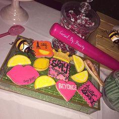 Beyoncé Cookies Lemonade Theme Set Up July Birthday, Birthday Party Themes, Birthday Ideas, Beyonce Party, Boy Bye, Queen Bees, Girls Night, Lemonade, Birthdays