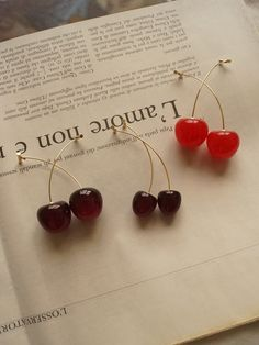 Petit Cherié (Cherry) Earrings *Gold-plated stems – Gabi The Label Cute Earrings, Gold Earrings, Gold Plated Earrings, Unique Earrings, Cute Jewelry, Jewelry Accessories, Cherry Earrings, Cherry Fruit, New Year Gifts