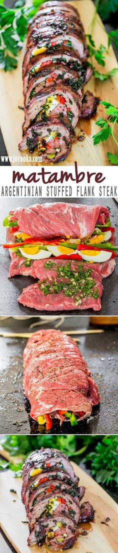 Matambre: An Argentinian Stuffed flank steak with hard boiled eggs, bell peppers and a mixture of cilantro, garlic and olive oil. The matambre is then grilled (or broiled) to perfection and cut into thin slices before enjoying. Serves 10.