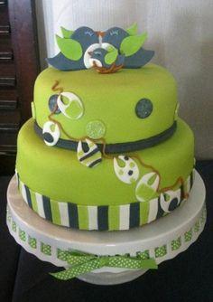 Gâteau lime et marine pour un shower de bébé.