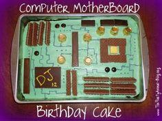 Computer Motherboard Birthday Cake