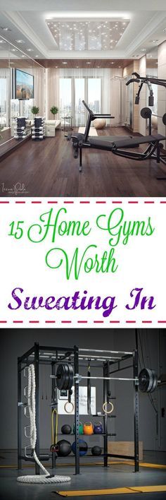 15 Home Gyms Worth Sweating In: Need some help with motivation? A gorgeous, stylish home gym will make you want to spend hours sweating in there every week. #HomeGyms