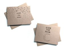 Moon and Stars Stationery - Eight Blank Celestial Kraft Note Cards & Envelopes - Under the Stars, Over the Moon - Starry Night Greeting Card