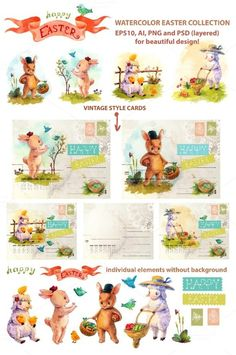 Check out Easter watercolor collection by JaneLane on Creative Market