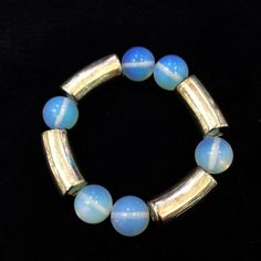 Hot Sale 15-16mm Round White Moonstone Bracelet With Silver Plated Items On Strong Elastic