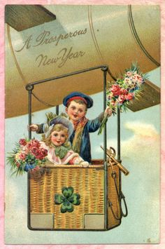 PFB New Year Postcard Children with Flowers in Airship Zeppelin Vintage Happy New Year, Happy New Years Eve, Happy New Year Cards, New Year Greeting Cards, Happy New Year 2019, New Year Greetings, Vintage Greeting Cards, Picture Postcards, Vintage Postcards