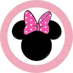 Imprimibles gratis de Minnie Mouse en tonos rosa y lunares rosa y blanco.