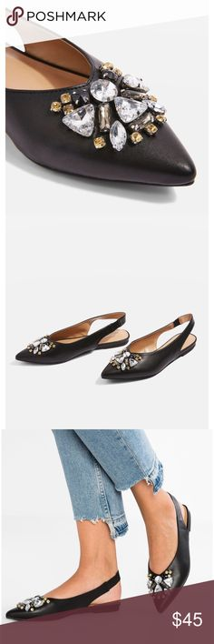 🌟N E W🌟TOPSHOP Ava Gem Slingback Flat TOPSHOP Ava Gem Slingback Flat  •size 8 EUR, 7.5 US, brand new never worn •embellished slingback flats, synthetic upper/insole/outsole  🌺Check out my other TOPSHOP items🌺 Topshop Shoes