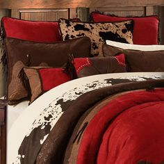 Delectably Yours Decor Red Rodeo Western Bedding Comforter Set & Pillows