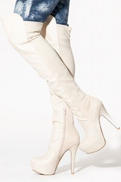 Qupid Over the Knee Faux Leather Platform Boots for 63.18