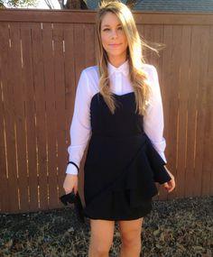 Style inspiration: Wear a crisp, white, button down shirt under a sweetheart strapless dress. Add a statement necklace.