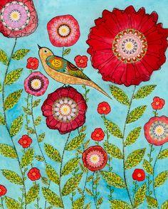 Flower Art Flower Art Print Red Flower and Bird by Sascalia