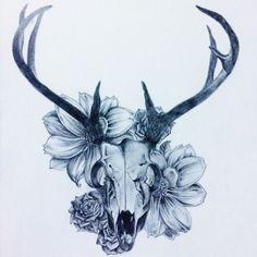 Deer skull flowers