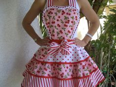 Red Cherry Womens Full Apron by ruffledfrenzy on Etsy Retro Apron, Aprons Vintage, Cute Dresses, Girls Dresses, Beautiful Dresses, Custom Aprons, Apron Designs, Sewing Aprons, Kids Apron