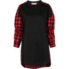 ililily Unique Buffalo Checkered Plaid Two Tone Loose Fit Check... ($39) ❤ liked on Polyvore featuring tops, plaid, long sleeve tops, long plaid shirt, plaid top, long sleeve plaid shirts and print shirts