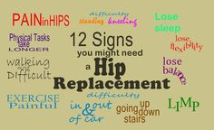 12 Signs You Might Need a Hip Replacement - Signs which might signal problems with your hip. As always, you should contract your doctor if your have any of these symptoms and think you may be having problems with your hip.