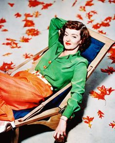 """A very """"autumnal"""" portrait of Bette Davis by Bert Six, 1947."""