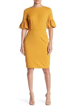 Bubble Sleeve Dress by Marina on Dresses For Work, Dresses With Sleeves, Formal Dresses, Kentucky Derby Dress, Sophisticated Dress, Nordstrom Dresses, Yellow Dress, Chic Outfits, Nordstrom Rack