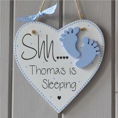 Shh baby sleeping plaque personalised sleeping sign decorated with childs name.