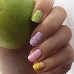 pastel skittle nailart green lilac pink yellow babyblue stamping