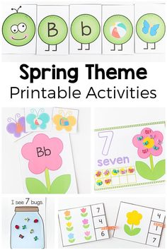 Spring theme printables for preschool and kindergarten. From butterflies to flowers to insects, frogs and eggs, this activity pack includes them all! via @danielledb